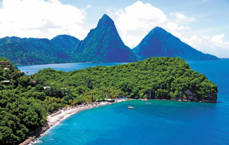 An aerial view of Anse Chastanet and Jade Mountain in Soufrière, St. Lucia