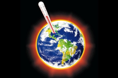 global warming earth with thermometer