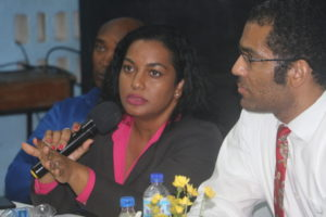 Invest Saint Lucia team responds to queries (from left) Mc Hale Andrew Dainea Augier and Seryozha Cenac