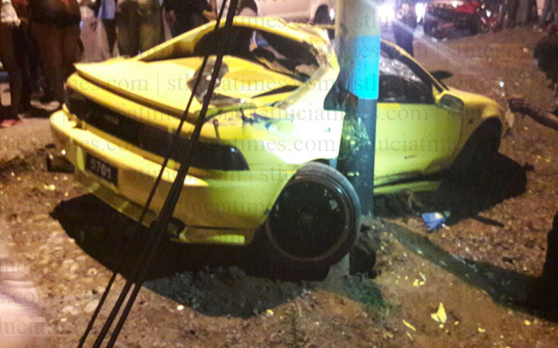 collision dennery st lucia yellow toyota MR2