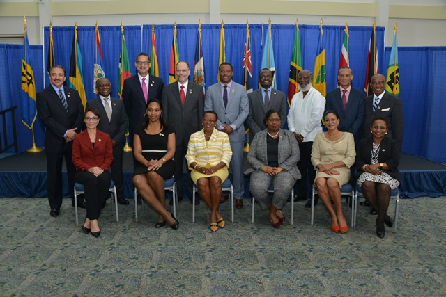 COFCOR Official photo (front row, from left) Senator the Hon. Kamina Johnson Smith, Minister of Foreign Affairs and Foreign Trade of Jamaica; Hon. Senator Francine Baron, Minister of Foreign Affairs and CARICOM Affairs of Dominica; Senator the Hon Maxine Mclean, Minister of Foreign Affairs of Barbados and Chair of COFCOR; Hon. Yldiz D Pollack-Beighle, Minister of Foreign Affairs of Suriname; Her Excellency Elma Gene Isaac, Ambassador to CARICOM and OECS representing Saint Lucia; Ms Sharon Haylock, Director-General, Ministry of Foreign Affairs and Immigration representing The Bahamas. (Back row, from left) - Hon. H. Charles Fernandez, Minister of Foreign Affairs and International Trade of Antigua and Barbuda; Hon. Carl Greenidge, Minister of Foreign Affairs of Guyana; Hon. Nicolas Skeete, Minister of Health, Social Security and International Business of Grenada; Ambassador Irwin LaRocque, CARICOM Secretary-General; The Hon. Mark Brantley, Minister of Foreign Affairs and Aviation of St Kitts and Nevis; His Excellency Peterson Noel, Ambassador to CARICOM representing Haiti; Hon. Wilfred Peter Elrington, Minister of Foreign Affairs and Attorney-General of Belize; Senator Dennis Moses, Minister of Foreign and CARICOM Affairs of Trinidad and Tobago; Minister of Foreign Affairs, Trade, Commerce and Regional Integration of St Vincent and the Grenadines.