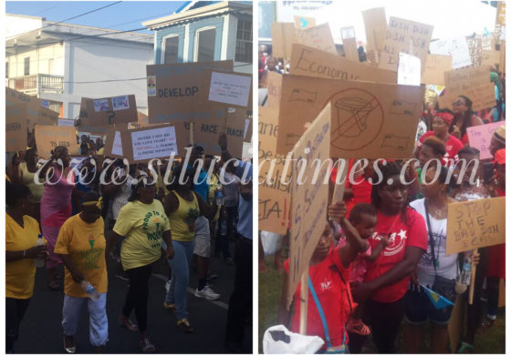 Demonstrations in Castries & Vieux Fort for and against the government