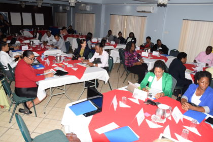 section of the participants attending the regional training workshop for integrating gender equality in disaster risk management programming in the Caribbean-GINA, Guyana