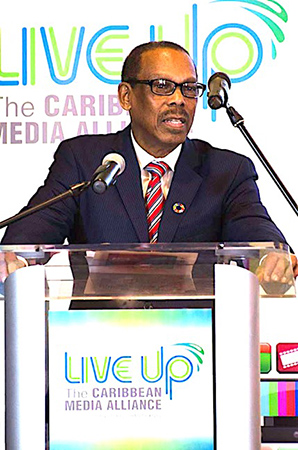 UN Special Envoy on HIV to the Caribbean Dr. Eddie Greene speaking at the recent 10th Anniversary Media launch of Regional Testing Day in Bridgetown Barbados