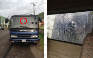 truck with bullet hole shooting in bois dorange st lucia
