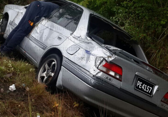 Three escape unhurt after vehicle mishap