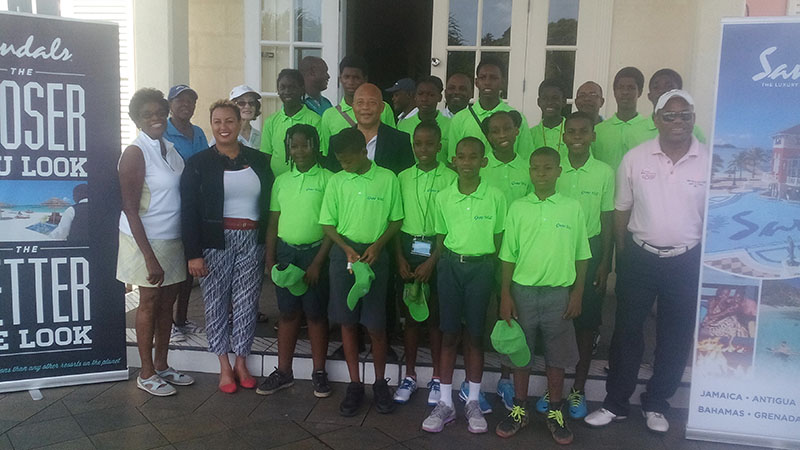 Junior Golfers at the Sandals launch of the Grow Well summer Camp 2017