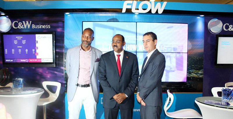 President of Flow Caribbean-Garfield Sinclair, PM Gaston Browne (Antigua & Barbuda) & Joe Mathieson (GM CWC Antigua) at #CANTO2017 #Pre5GTesting