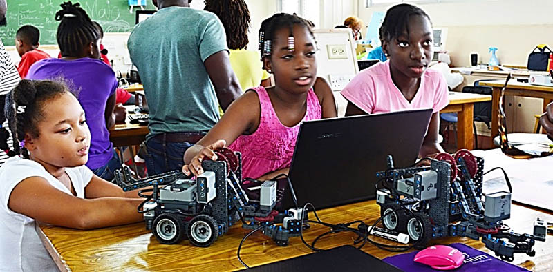 Young students with their robots