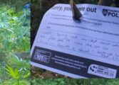 Police leave light-hearted note after ganja find