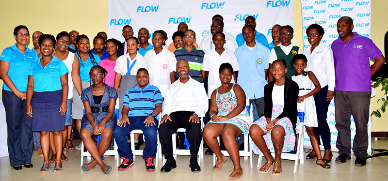 Recipients, parents, and Msgr. Patrick Anthony at the Flow Scholarship Presentation Ceremony 2017