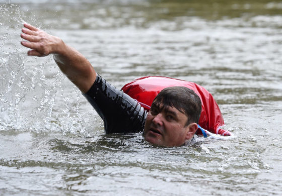 German Man Avoids Traffic Jams By Swimming To Work