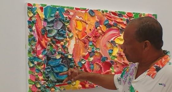 Llewellyn Xavier exhibits at the Clement Foundation museum in Martinique