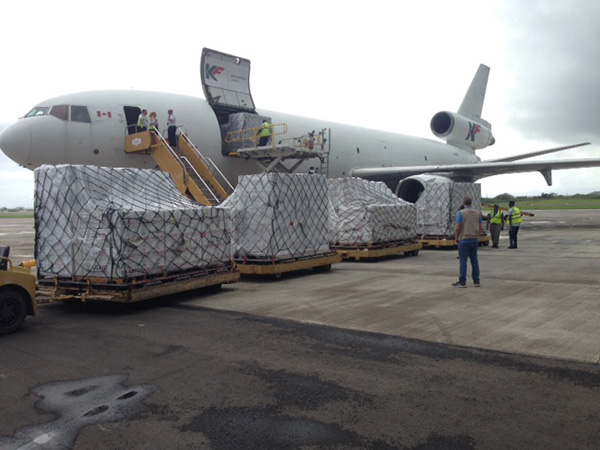 Plane being packed with supplies