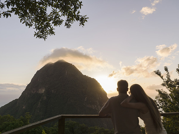 Sunset at Tet Paul looking out at Piton