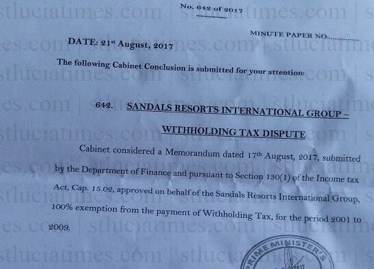 Sandals exempted from payment of withholding tax