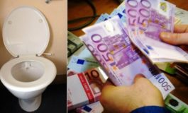 Euro notes found flushed down toilets