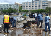 Sea swells dump debris at Castries Waterfront