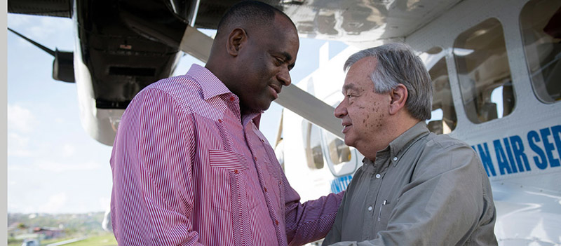 'The Prime Minister of Dominica, Roosevelt Skerrit (left), meeting with the UN Secretary-General, António Guterres in the aftermath of Hurricane Maria