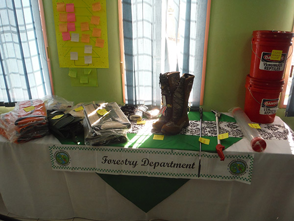 Protective gear and equipment on display