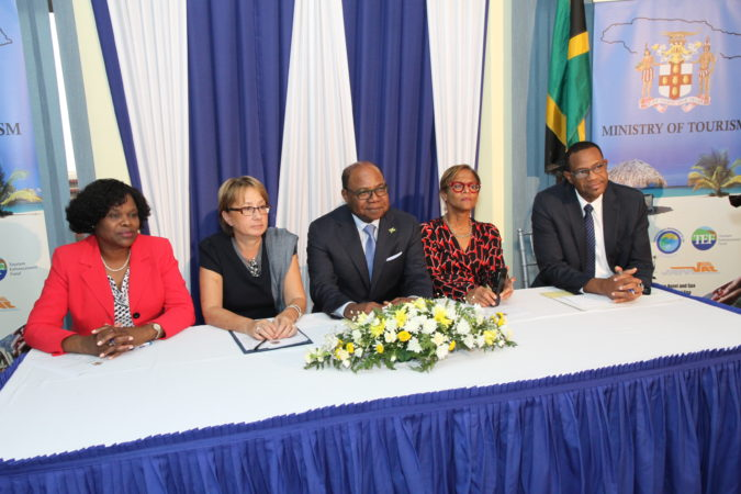 (L-R)Permanent Secretary in the Ministry of Tourism Mrs. Jennifer Griffith, World Bank Country Manager for Jamaica Galina Sotirova, Minister of Tourism the Hon. Ed Bartlett, General Manager, Country Department Caribbe