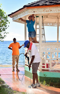 Cleaning the gazebo and pressure washing at the Soufrière waterfront park
