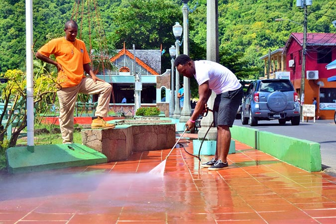Flow colleagues spent much of the day pressure washing the Soufrière waterfront park