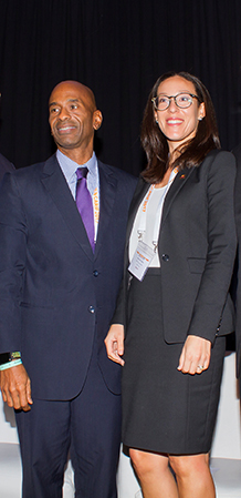 Isabel de Caires (right), Associate Director, Investment Banking CIBC FirstCaribbean International Bank with Raymond Campbell Partner, Advisory, KPMG at the Caribbean Infrastructure Forum
