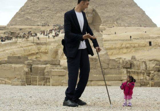The world's tallest man meets the world's shortest woman in now-viral photos