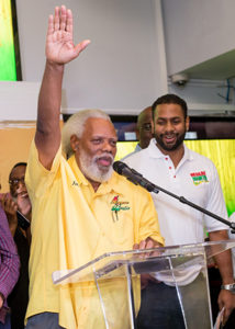 Chairman of the Jamaica Reggae Industry Association (JaRIA) Ibo Cooper, pledges to provide the best experience to guests at the launch of Reggae Month. (background) Chairman of the Sports and Entertainment linkages network Kamal Bankay looks on.