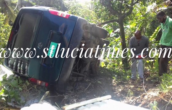 Bus plunges over wall in Castries, injuring two