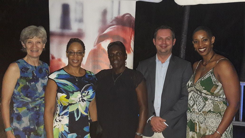 From left to right: Meg Williams – Consular Regional Director; Ann Lewis – Vice-Consul, Bridgetown; Geraldine Alcide – Consular Officer, Castries; Steve McCready – Resident British Commissioner, St Lucia and Danielle Millington – Consular Regional Operations Manager