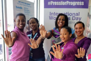 The women of Flow Vieux Fort, pressing for progress on International Women's Day 2018