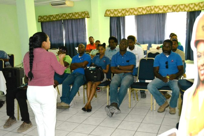 Ms Avaleen Mooloo presenting on concrete paving solutions for construction workers and engineers