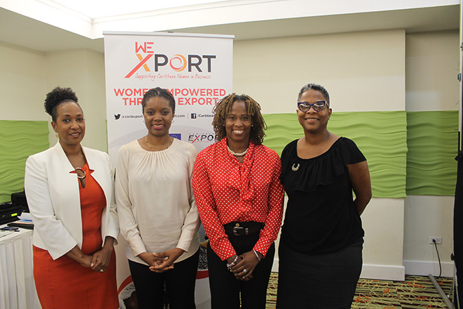Pamela Coke Hamilton, Executive Director of Caribbean Export Isiuwa Iyahen, Programme Specialist-Economic Empowerment Lisa Harding, Micro, Small and Medium Enterprise Development Coordinator, Technical Cooperation Division, CDB. Camille Wildman, Project Officer-Private Sector Specialist at the Delegation of the European Union to Barbados, the Eastern Caribbean States, the OECS and CARICOM/CARIFORUM