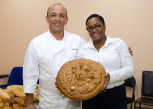Chef Ali Medjahed with contest winner Natasha Jordan-Venner