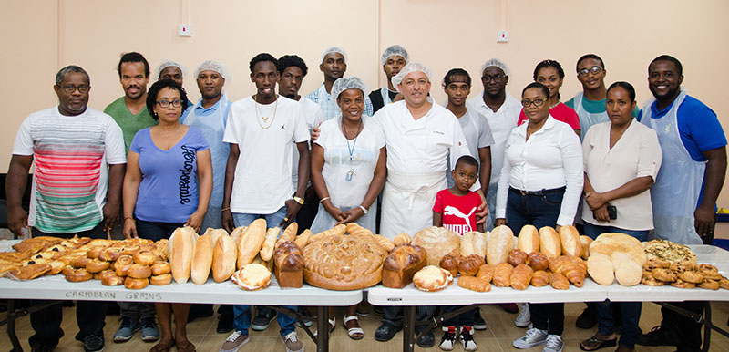 Chef Ali Medjahed with participants at the Caribbean Grains baking training session