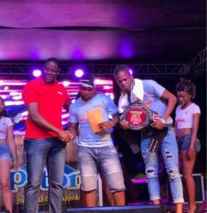 Campari Brand manager Denver Alcee with Dennery Segment champs Mighty & Subance