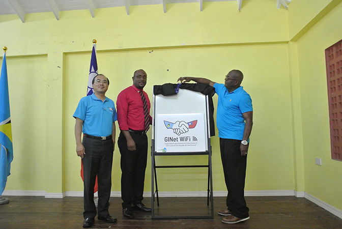 Minister Edmund Estaphane, Hon.Shawn Edward and Mr.Louis Liou, Deputy Counsellor of the Embassy of the Republic of China (Taiwan) together announced the GINet Free WIFI Service Launched in Dennery North