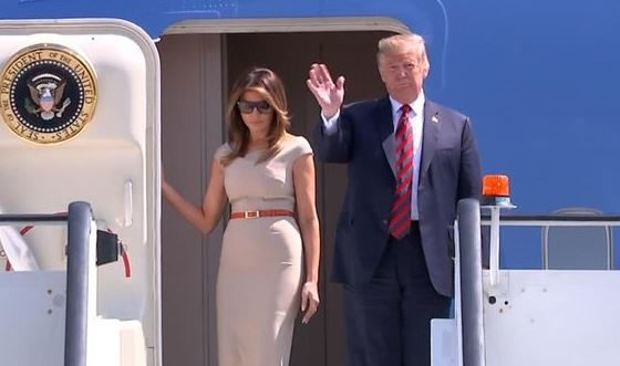 Trump 'fine' with protests as he lands in UK