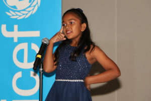 Ms. Angelique Balmacoon, a 10-year-old Child Rights Ambassador, performing her powerful spoken word piece on Bullying on the second day of the gathering