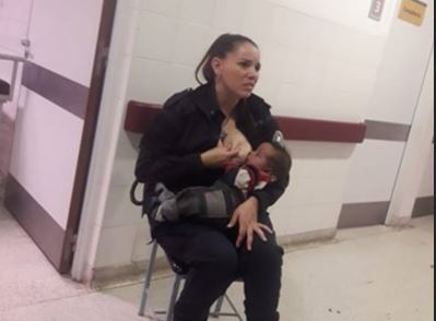 Police officer hailed for breastfeeding 'dirty' baby