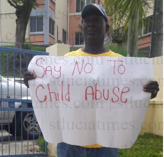 Victim of child abuse stages protest