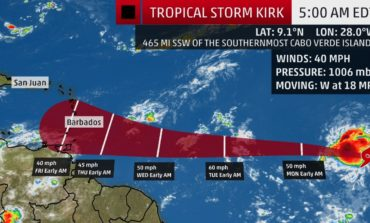 Tropical Storm Kirk accelerates west over Atlantic Ocean