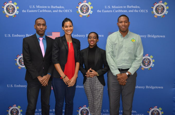 St. Lucian nationals Nyus Alfred, Johanan Dujon, Laurah John and Chadia Mathurin before they departed for the Department of State's YLAI program in Detroit, Michigan