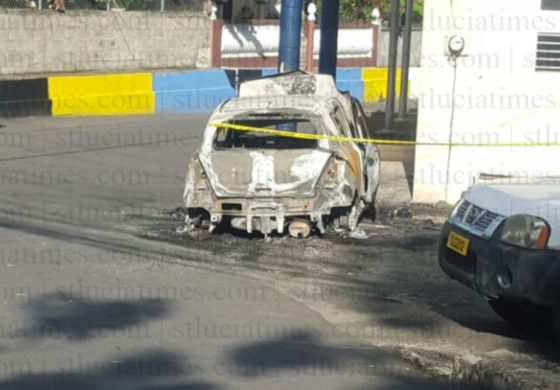 Cop's car destroyed by fire outside Canaries station