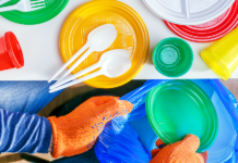 single use plastics - plates, spoons, cups, bags
