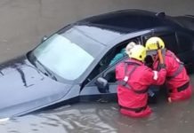 Firefighters rescue stranded UK driver